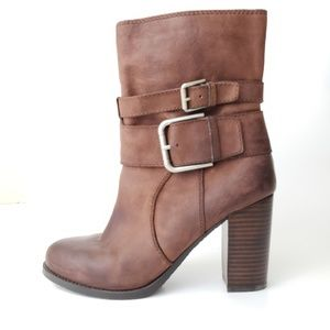 Nine West Chana NWOT Leather Buckle Boots Size 8.5